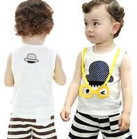 Boy Summer Sleeveless Babyrow infants and children's clothes boys summer cotton sleeveless t-shirt vest suit pants set