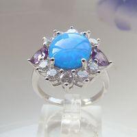 Cheap Three Stone Rings Blue opal rings Best Bohemian Women's opal jewelry