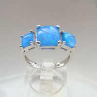 Cheap Three Stone Rings Blue opal rings Best Bohemian Women's opal jewelry