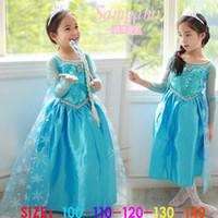 2014 Frozen Elsa Anna Princess summer long sleeve dress Birt...