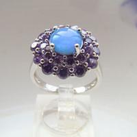 Cheap Three Stone Rings opal with zircon rings Best Bohemian Women's purple zircon opal ring