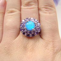 Cheap White opal ring Best amethyst cz ring