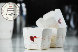 Wholesale double heart shaped paper baking cups cupcake cases muffin square cake cup liners box case wedding party supplies