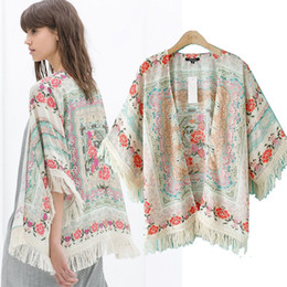 Wholesale 2014 summer women floral print fringe tassel Knit Cardigan boho beach kimono cape swim cover up jacket poncho
