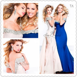 Wholesale Sexy Tarik Ediz Evening Dresses Strapless Rural Blue Pink Backless Sweep Train Sleeveless Beads Celebrity Red Carpet Gowns New Arrival
