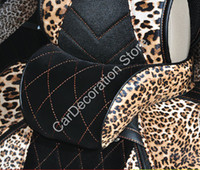 Wholesale Fashion Stream Line Leopard Leather Car Headrest Neck Cushion Pillow Travel Cushion