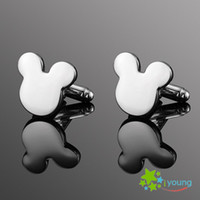 Wholesale Novelty Movie Cartoon Mickey Mouse Ear Designer men cufflink Business Shirt cuff link Male Metal Button jewelry Bijoux