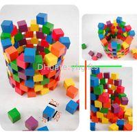 al por mayor madera para la construcción-100PCS / LOT.2cm cubo de madera, bloque de madera colorido, bloques de construcción de madera del cubo, Early gift.Freeshipping toys.Birthday educativa