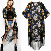 Wholesale Hot NEW Women Long Tassel Short Sleeved Brand Flora Printing Knit Cardigan boho beach kimono cape swim cover up jacket poncho