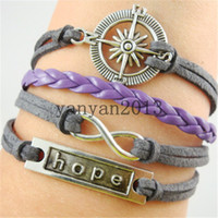 Wholesale Silver Alloy Compass Hope Infinity Charm Purple Leather Cuff Bracelet Latest Men s Jewelry word combinations infinite variety