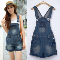 2014 Summer Fashion Women Cuffs Jeans Shorts loose female jeans bib pants jumpsuit denim shorts with Pockets SY70 Size S-L Cheap