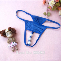 Woman Three Point Type Gauze Hot Sexy three big Pearl massage briefs perspective beads open crotch Panties Underwear black red pink blue white color 6870