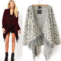Wholesale Autumn European Ethnic Style Plus Size Fashion Geometric Print Tassel Knit Cardigan Woman Spring Long Fringed Sweater