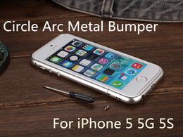 Luxury Mould Circle Arc with Screw Round Corner Ultra Slim Thin Metal Button Aluminum Case All Metal Frame Bumper Cover for iphone 5 5G 5S