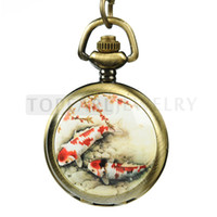 Wholesale Topearl Jewelry Necklace Pocket Watch Retro Antique Color Japanese Carpe LPW48