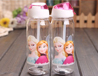 Wholesale Big discount Children Cup Cartoon Frozen Elsa Anna PP Texture Suction Cup with drinking straw water bottle EMS Fast FreeShipping