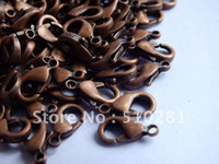 Clasps & Hooks tiancai Metal Free ship!!!Hot fashion 500pcs 18mm Antique copper findings jewelry bead making Metal Claw Lobster clasp hooks connector