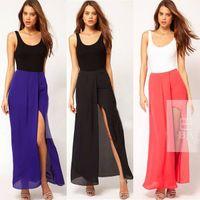 Chiffon Above Knee Women skirt Sexy Womens Open Side Split Dress Summer Solid Chiffon Long Maxi Boho