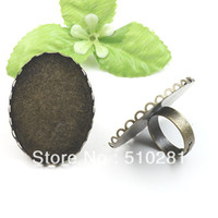 Connectors Yes tiancai FREE SHIPPING !!! wholesale copper plated 30*40mm oval lace edge ring settings ring bases jewelry findings