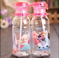 Wholesale 2014 Hot Sale Big Discount Children Cup Cartoon Frozen Elsa Anna PP Texture Suction Cup with Drinking Straw Water Bottle