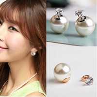 Wholesale Song Hye Kyo pearl Crysta stud earrings for women k gold plated OL jewelry accessories
