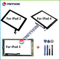 Bon Marché Écrans tactiles en verre-Pour iPad 2/3/4 écran tactile en verre Digitizer Assemblée avec Home Button Sticker adhésif Glue remplacement réparation de pièces Outils gratuits