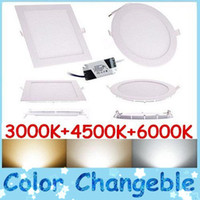 No 85-265V 5630 New Arrival Color Temperature Change LED Slim Panel Lights 9W 12W 15W 18W 3 Colors (Warm Natural Cool) White In 1 Unit Led Lighting 85-265V