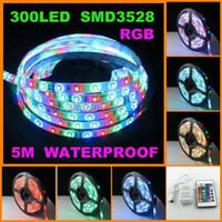 Auto strobe Blue EU Waterproof 3528 SMD RGB 300 LEDs 5M Strip Light+24IR Remote+2A Power Adapter DIY