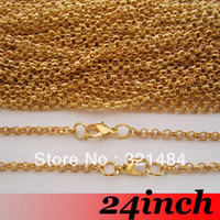 Clasps & Hooks Jewelry Findings Yes Free Ship! 100PCS 3mm 24 inch Gold Plated Metal Jewelry Link Rolo Chain Necklace With Lobster clasp