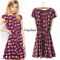 Work Mini Cotton,Polyester 2014 new summer European style clothing for women pleated birds print dress cotton dresses with belt #11 SV003877