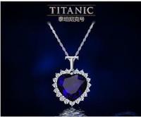 Precio de Colgante de zafiro titánica-las mujeres corazón titánico del océano cristal de zafiro de la cadena del collar pendiente de la joyería de la placa