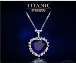 Colgante de zafiro titánica en venta-las mujeres corazón titánico del océano cristal de zafiro de la cadena del collar pendiente de la joyería de la placa