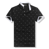 Men Cotton Round 2014 summer new men's polo shirt lapel Men's fashion fish hook printed T-shirt short-sleeved polo shirt male
