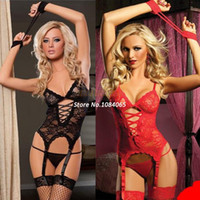 Women Spandex Lace shirt Big Discount!! Europe and America Sexy Lingerie Lace Transparent Garters Sexy Corset Black, Red SV000546 A01