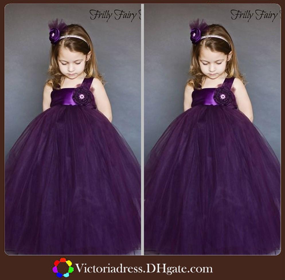 Purple Color Ball Gown Kids Dress Flower For Weddings Empire Waist ...