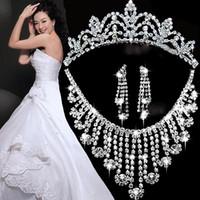 Celtic tiara and jewelry set - Bridal jewelry sets rhinestones wedding jewelry Womens rhinestone necklace earrings and tiara Set sets wholesales