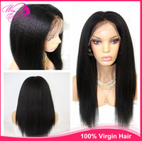 Straight lace wigs for african american - 18 quot Natural Hairline italian yaki Lace Front Human Hair Wigs Virgin Hair Density Cheap Brazilian Remy Wigs For African Americans