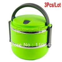 Ceramic Dinnerware Sets  new 3pcs Lot Wholesale High Quality Green 1.4LTwo Layers Stainless Steel Children Lunch Box Keep Warm Food Container For Kids 15038