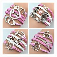 achat en gros de bracelets papillon infini-Bracelets Infinity Antique Charme Amour Papillon Tour Eiffel Anchor Couleur Rose Mix Designs Bracelets en cuir Bijoux Fashion Livraison gratuite