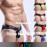 Men Polyester Boxers & Boy Shorts Wholesale-Mens Penis Pouch Briefs Gay Underwear Men jockstrap Mens Thongs and G strings Mens Underwear Penis Sheath see through 10 MU1004B40
