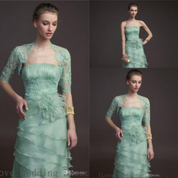 2017 Mother of the Bride Dress with Jacket Laced Short Sleeves Formal Dress Strapless Empired Tiered Organza Feather Bridal Gown Pleat