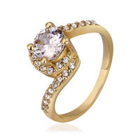 Solitaire Ring genuine diamond ring - Newest fashion Wedding Ring CZ Diamond Crystal Ring K Yellow Gold Plated Made with Genuine Austrian Crystals Full Sizes