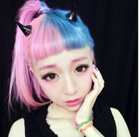 Wholesale Colorful devil horns hairpin angel Harajuku cute exaggerated hair clip bobby pins pairs