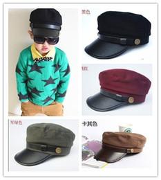 Wholesale Korean New Summer Children Boys Girls Peak Caps Kids Sun Protection Fashion Army Hats Childs Student Baseball Cap H1069
