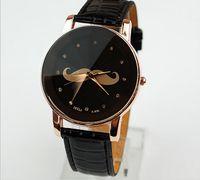 Wholesale Fashion Women Leather Watches Mustache Wrist Watches Lady Round Dial Charming Quartz Watches Mix Color
