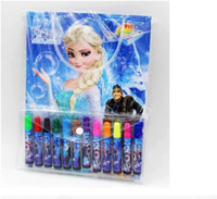 Wholesale Cartoon Frozen Children Colors Drawing Pen P Color Book P Color Stricker Elsa Anna Painting Suppliers Handy Coloring M0251