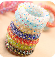 Wholesale Telephone Coil headrope girl bands Color Mixed Ponytail Holder