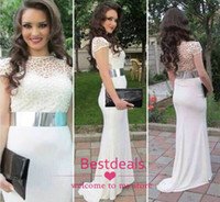 2014 white lace chiffon evening dresses with short sleeves s...