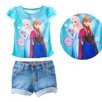 Girl Summer Short Fashion Summer Children Baby Girls Clothes Cartoon Frozen Patern Snow Romance Princess Sophia Two Pieces T-Shirt & Short Jeans Sets XJ07-1
