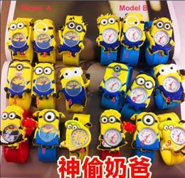 Caoutchouc pression à vendre-Cadeau de Noël 50pcs Hot jaune Robot Aliens Gru Mélange Character Kids Boys Silicone Slap Montres Rubber Band Snap Bracelet Montre-bracelet Nouveau